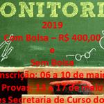 Abertas vagas para monitoria 2019